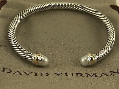 David Yurman Cable Classic Bracelet with Pearl and 14K Gold 5mm David Yurman Gold Bracelet