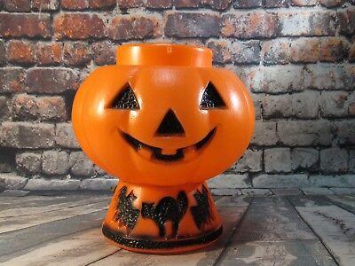 Vintage Light Up Halloween Blow Mold Jack O Lantern Pumpkin with Cat / Bats - Blow Up Halloween Cat Decoration