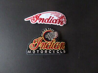 LOT OF 2-Vintage Indian motorcycle iron on patch embroidered collectible