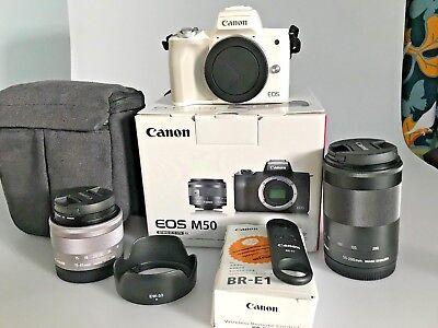 Canon EOS M50 Mirrorless White Digital Camera MEGA Bundle w/ 15-45mm + 55-200mm