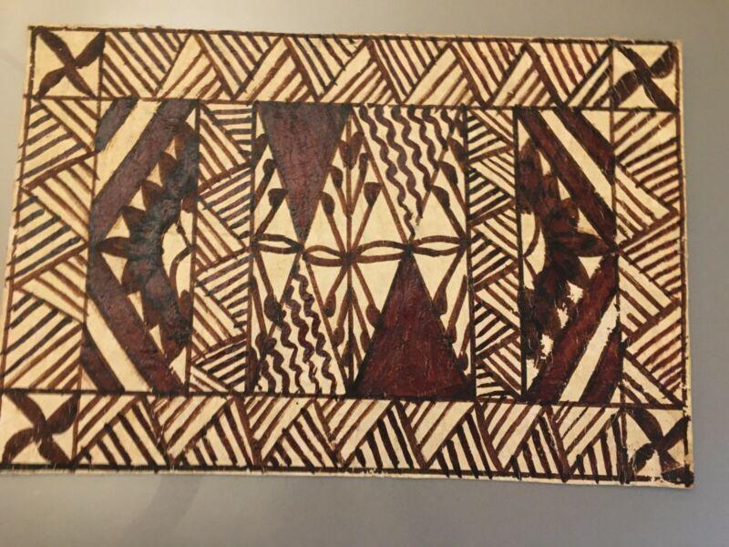 EARLY 20TH CENTURY SIAPO SAMOAN BARK CLOTH AUTHENTIC TAPA ART