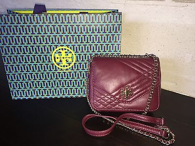 TORY BURCH KIRA QUILTED MINI CROSS-BODY RED AGATE NWT & GIFT BAG $325-31159144