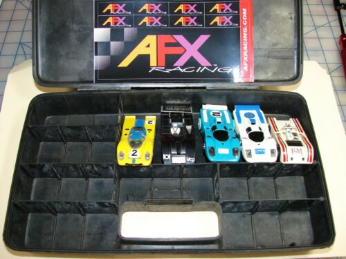 5  HO Slot Cars 3 AFX  magna traction 2 AW X traction tested n run with case
