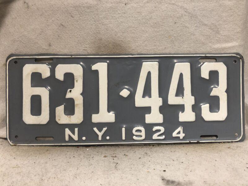 Vintage 1924 New York License Plate