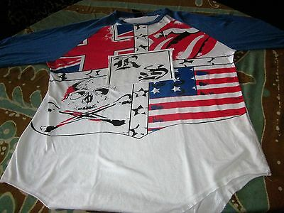 ROLLING STONES 2002 WORLD TOUR BASEBALL TEE SHIRT LARGE RELICED DISTRESSED STYLE