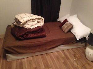 Twin sized bed and mattress