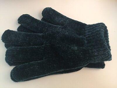 Ladies Green Chenille Gloves