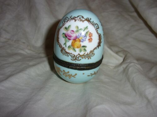 Vintage hand Painted Porcelain Limoges Egg Shape Trinket Box ROSES