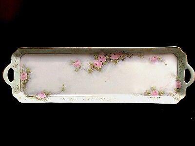 Beautiful Antique Handpainted Roses Limoge Long Dessert Tray