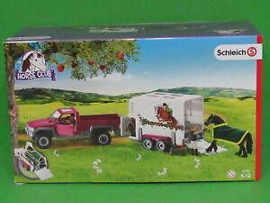 Schleich 42346 Pick-Up mit Pferdeanhänger und Zubehör Blitzversand per DHL-Paket