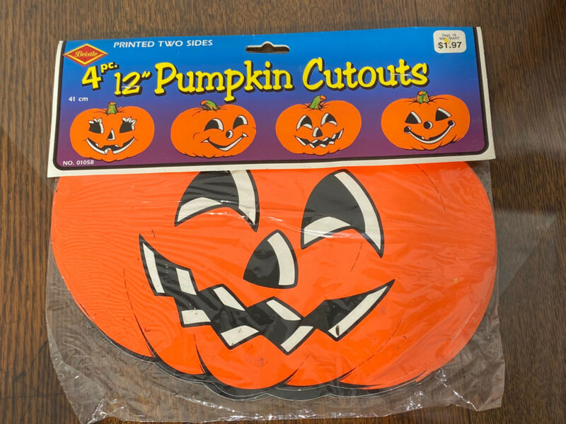 VTG 1990 Pumpkin Cutouts Halloween Die Cut Paper BEISTLE JACK O LANTERNS Sealed