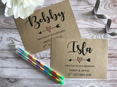CHILDRENS PERSONALISED A6 WEDDING ACTIVITY PACK BOOK BAG PARTY GIFT TEXT BROWN