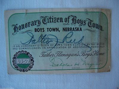 1952 MEMBERSHIP CARD BOYS TOWN NEBRASKA FATHER FLANAGAN BOYS HOME