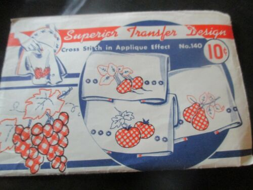 SUPERIOR Vintage FRUIT CROSS STITCH in APPLIQUE EFFECT Iron-On TRANSFER - 1950
