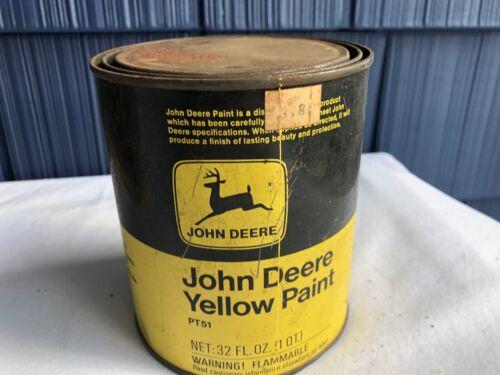 Vintage JOHN DEERE Yellow Paint Tin Can 1qt PT51 full estate find ptr
