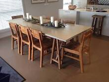 DESIGNER - TRESTLE DINING TABLE +  8x SOLID TEAK DINING CHAIRS Currans Hill Camden Area Preview