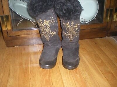 J. CREW Brown Suede Tall Boots with Fur - Size 8