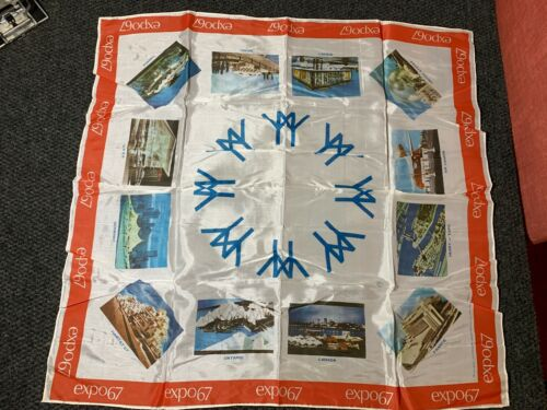 ☆Vintage EXPO 67 Silk Scarf - MONTREAL CANADA WORLDS FAIR - 26 Inch x 26 Inch☆