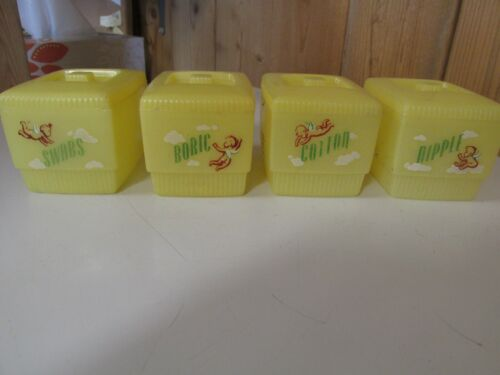 Clarolyte VINTAGE 1950s YELLOW   PLASTIC BABY NURSERY CONTAINERS
