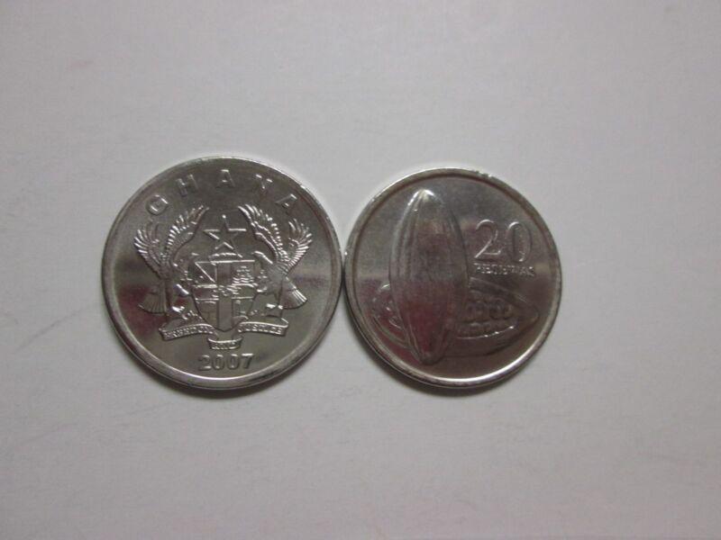 GHANA,   20 pesewas, 2007 unc, Km 40 (2007), Cocoa Pod