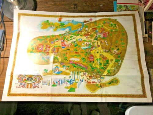 """Vintage 1967 Six Flags Over Georgia Amusement Park Full Map Wall Size 20""""x30"""""""