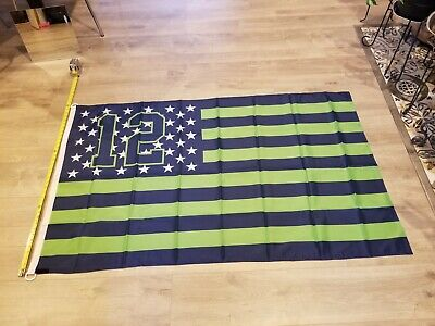 Seattle Seahawks 12th Man Stars and Stripe Flag Banner 3' X 5' Bright colors - Seahawks Banner