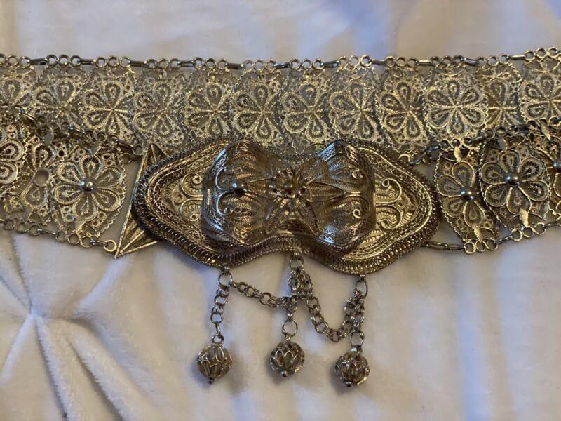 Vintage Antique Ottoman Balkan Caucasian Silver Belt