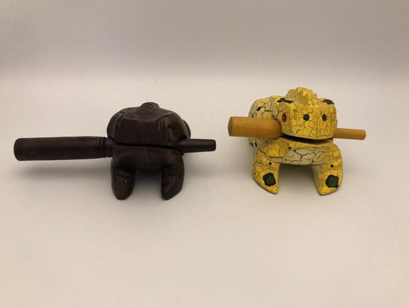 Percussion Croaking Wooden Frogs Toad Hand Carved Wood Instrument Singing Frogs