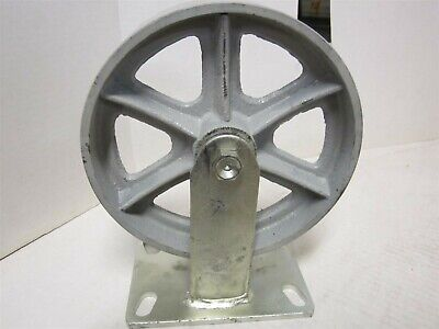 8 Rigid General Purpose Cast Iron Caster Wheel Plate Size 4-12 X 6-14