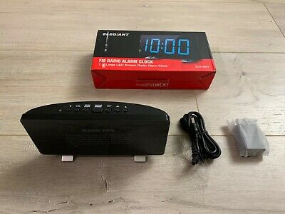 Elegiant Digital Alarm Clock FM Radio 7.3'' LED Screen USB Charging Port Black