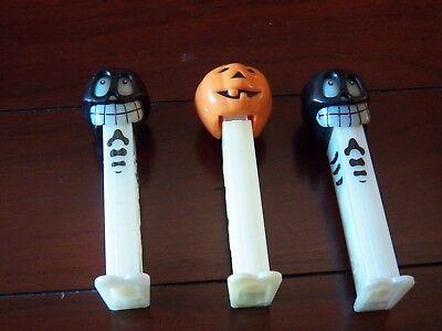 Rare Vintage 1980 2003 Halloween Black Skull Pumpkin Glow in Dark Pez Dispenser