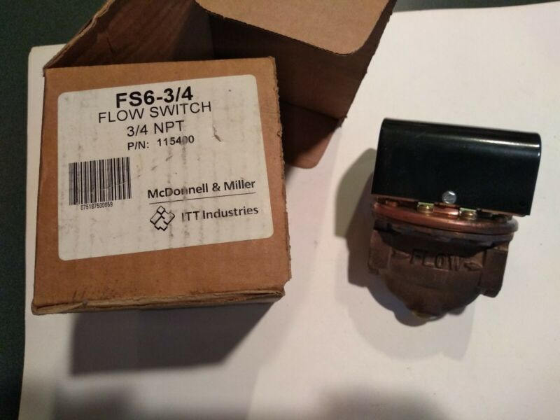 """115400 McDonnell and Miller FS6 3/4"""" Flow Switch NIB"""