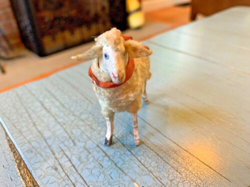 Putz Sheep Fly Away Ears Ribbons Germany German Stick Leg Wooly Antique Rare Toy