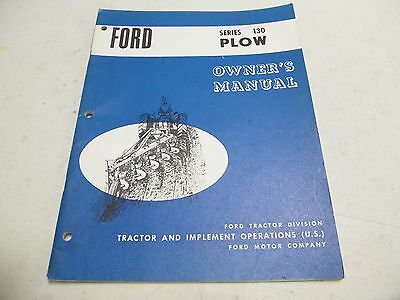 Ford Series 130 Plow Operators Manual