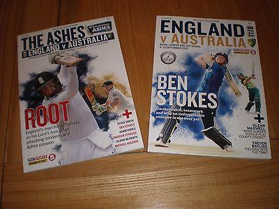 England V Australia 2015 Lords Ashes Test & 1 Day International Programmes
