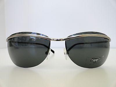MUSTANG  Silver Men Sunglasses 100% UV400 Green Lenses- (Mustang Sunglasses)