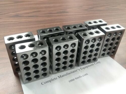 "4 pairs 1-2-3"" precision blocks 46 holes set up block pair 0.0002"" #701-123"