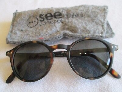 See Concept brown tortoiseshell frame round sunglasses. LetmeSeeSun. With case.
