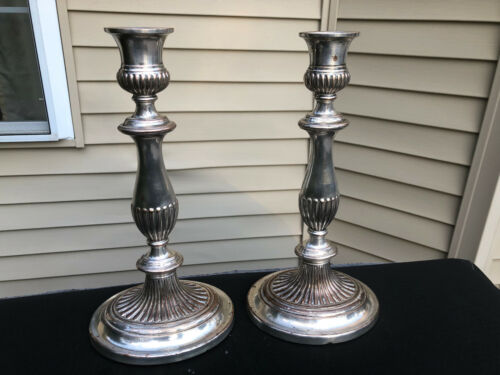 """Antique Pair of Sheffield Silverplate over Copper Candlesticks 12"""""""