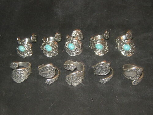 Wholesale Lot Of 10 Silver Plated Turquoise + Spoon Rings Sizes 6-10 Adjustable
