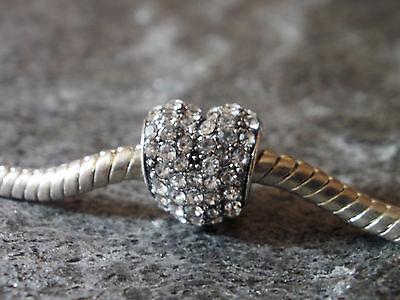 Pave Bead Element Herz Strass Kristall Antiksilber - plattiert für Armband 0358 ()