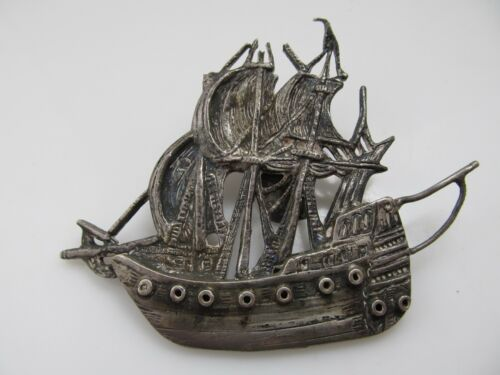 HEAVY NEAT STERLINGS SILVER SHIP BUCKLE DATED 1903 LARGE DETAILED ANTIQUE