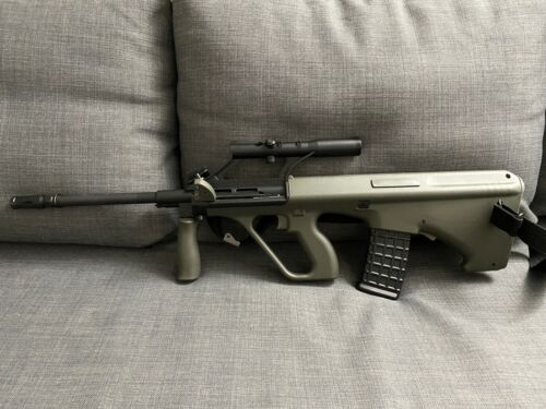GHK Gas Blowback AUG A2 Airsoft Rifle with Integrated Optic