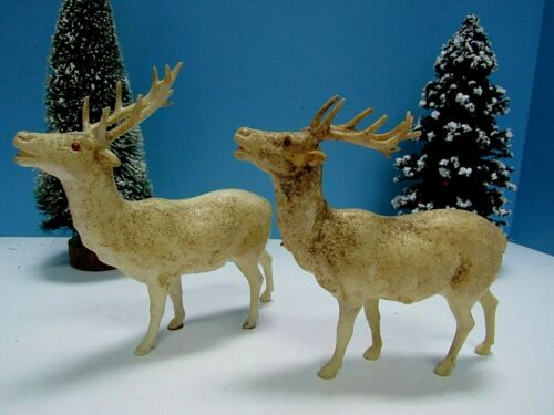 VTG RARE. PRE-WWII PAIR of PUTZ CELLULOID REINDEER GLASS EYE
