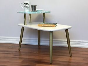 Retro mid-century modern two-tier side table