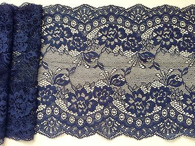 Laces Galore  Navy Blue  Lace Clipped Wide Delicate 7.5