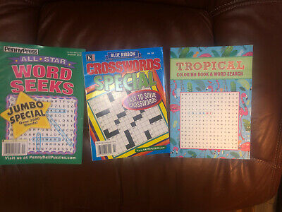 Lot 3 New Crossword Puzzle Books - Kappa, Penny Dell, Coloring Crossword