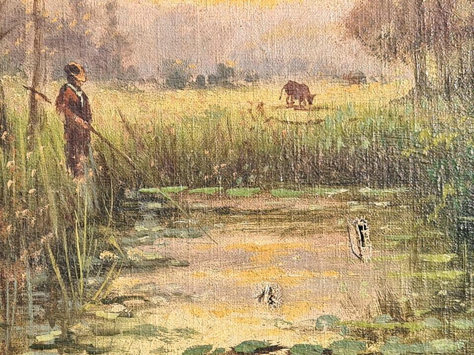 Gemälde W. Böhmer Angler Teich Landschaft Fischer Öl/Lwd um 1920 in Gommern