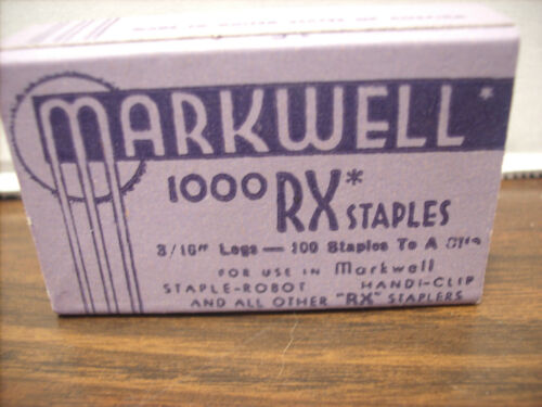 Vintage Markwell RX Staples 4 boxes 1000 each total 4000 office paper 3/16 leg