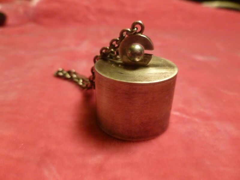RARE STYLIZED GEORG JENSEN STERLING SILVER PILL BOX AND KEY RING